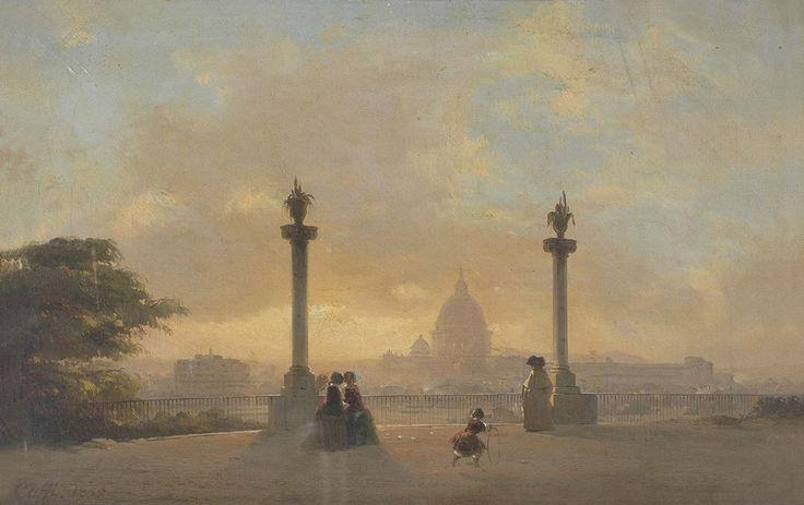 Ippolito Caffi, Veduta di Roma dal Pincio, 1855