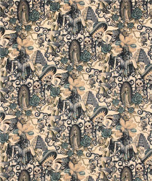 Tela beis Contigo de Alexander Henry con pareja y calaveras - Telas de calaveras - Textiles - tienda kawaii modesS4u