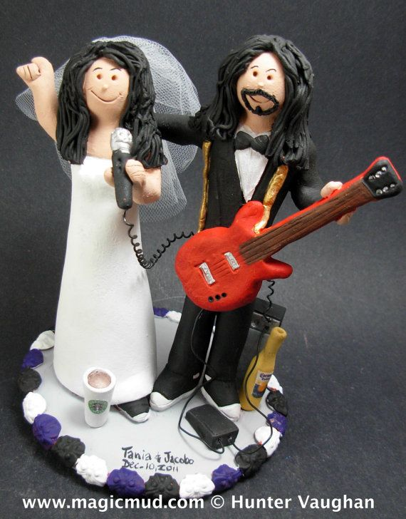 Singing Bride Wedding Cake Topper    Wedding Cake Topper for a Rock and Roll Guitar Player, custom created for you! Perfect for the marriage of a Rock Star Guitar Groom and his Bride!    $235   #magicmud   1 800 231 9814   www.magicmud.com