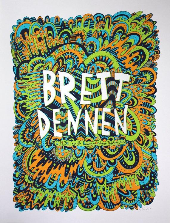 Brett Dennen LA  Handprinted gigposter by nateduval on Etsy, $20.00