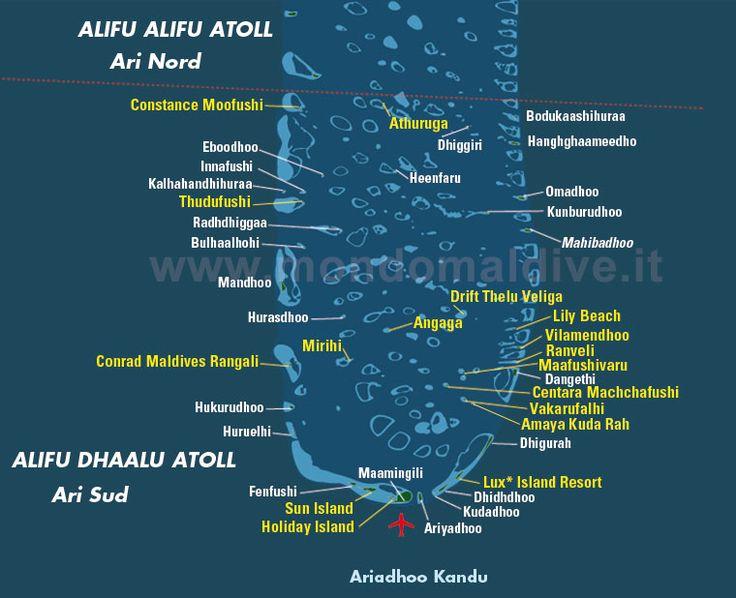 Map of South Ari Atoll Maldives