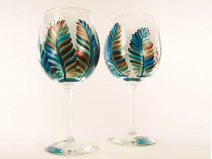 Hand Painted Southwestern Wine Glasses - Turquoise and Metallic Feathers Set of 4 - Large Red Wine Glass Gift idea by HandPaintedPetals on Etsy