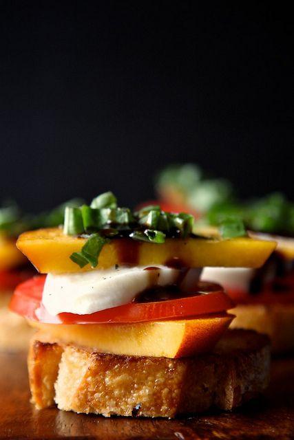 Peach Tomato and Mozzarella Crostini by joythebaker: Super simple and seriously impressive, this is the epitome of summer! #Crostinin #Peach #Tomato #joythebaker