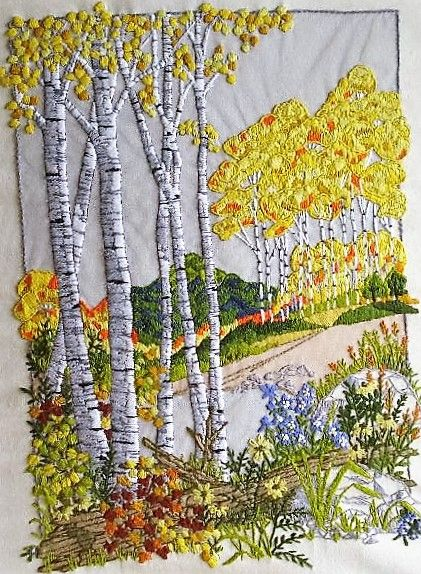 embroidered birches in fall