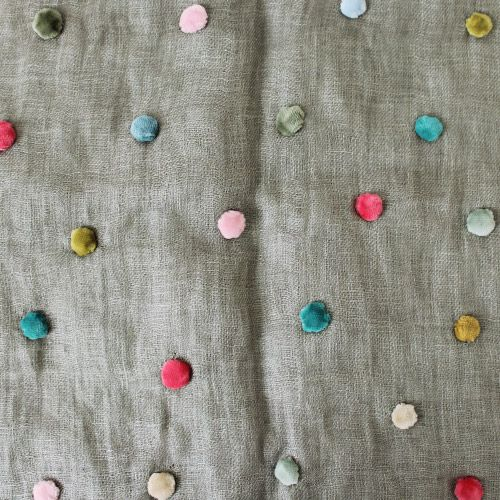 Sophie Digard Linen Dot Stole / Grey - taste&touch