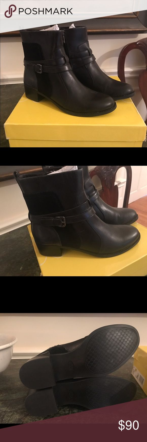 New Circa Joan and David Bruna Boots Sz 7 Leather and suede upper. Inside-zip closure. Rounded toe. Harness strap detail. Synthetic lining. Lightly padded footbed. Stacked heel. Synthetic outsole Joan & David Shoes Ankle Boots & Booties