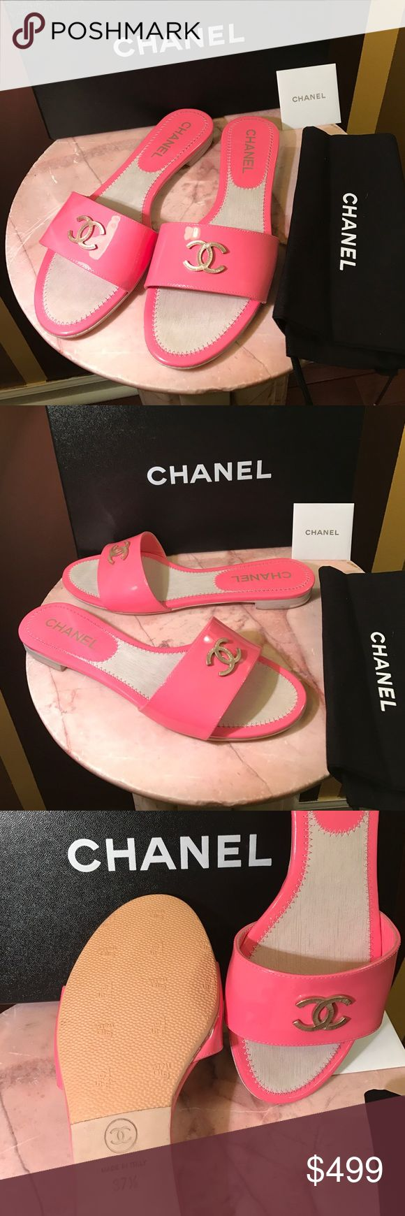 All new Chanel mules pink 💯 Authentic and new with Box and tags Chanel mules pink size 37.5 original price was $ 895 CHANEL Shoes Sandals