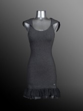 Ladies - Dress with Hoodie - Jersey Spandex - Charcoal - Joshua Perets - LS13-JS403-539