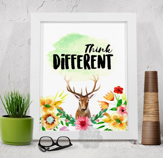 Think Different Inspirational Print Wall Decor by PrettyStylingArt
