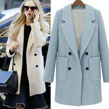Новый 2014 Большой размер женское пальто с длинным рукавом нагрудные теплые шерстяные зимнее пальто европейский стиль женский верхней одежды пальто 0164(China (Mainland))