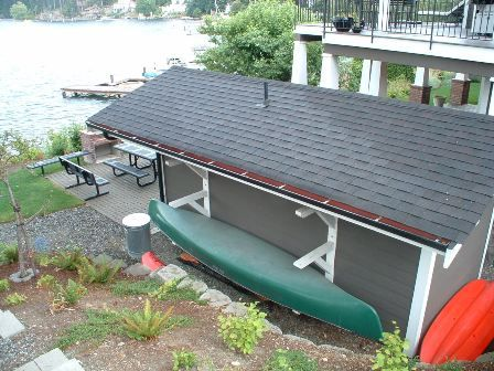 Canoe storage idea - ON THE BACK OF THE SHED?
