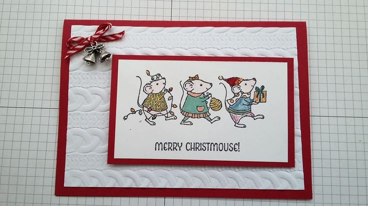 Stampin' Up! Cable Knit Dynamic embossing folder, Merry Mice, Real Red, Embellishments, Blender Pens, Aqua brush, Stampin' Write markers. Created by Pauline Barnfather, I Create Craft.