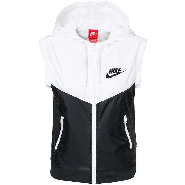 Nike Windrunner Vest ($44) ❤ liked on Polyvore featuring outerwear, vests, nike, vest, coats & jackets, womens-fashion, vest waistcoat, zipper vest, white waistcoat and zip vest