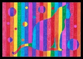Pruhované siluety v barvách duhy