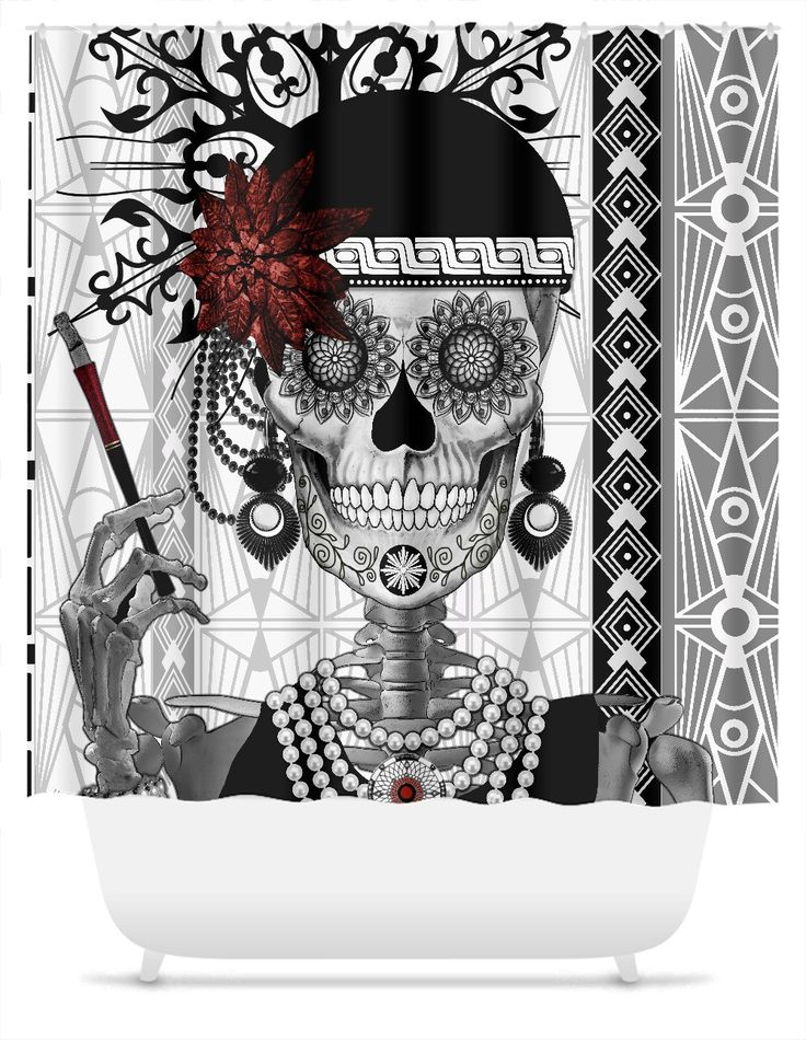 flapper girl sugar skull shower curtain mrs gloria vanderbone