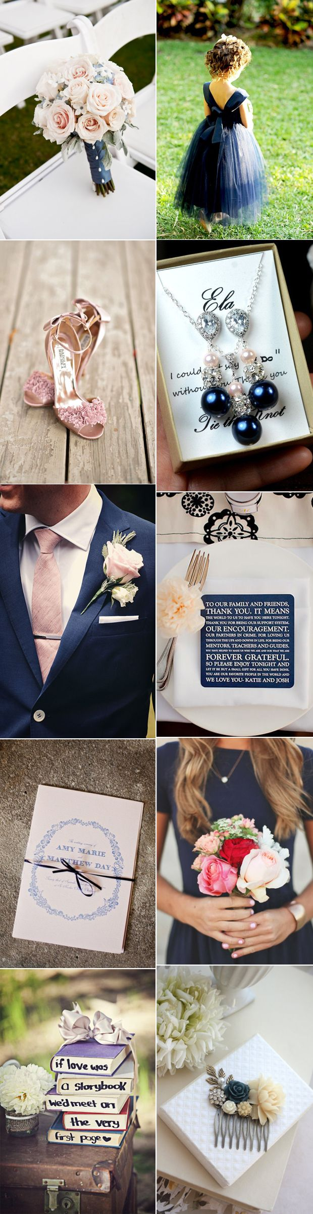 Timeless navy meets pretty blush pink in today's chic and romantic wedding palette!
