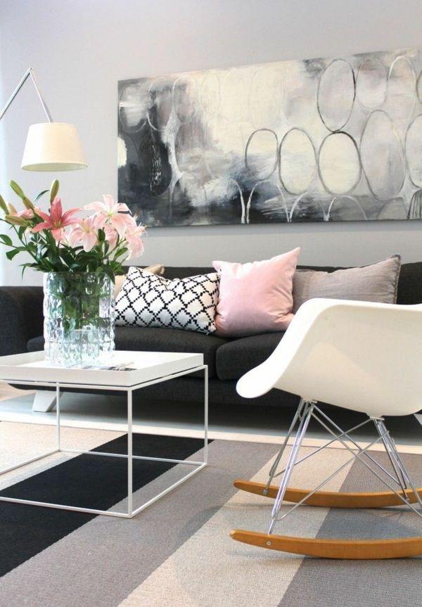 wohnzimmergestaltung ideen bilder design schaukelstuhl