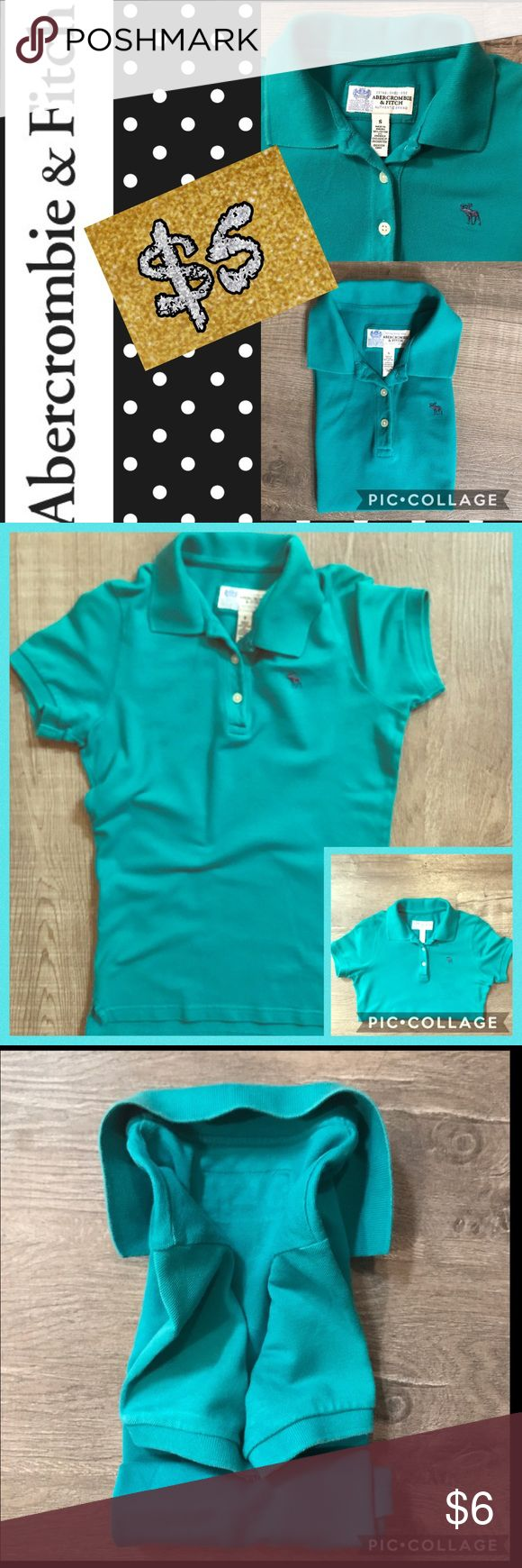 ABERCROMBIE & FITCH POLO SHIRT Icon polo TURQUOISE/ material in good condition /no holes or stain free 💯 iron and steamed / cleaned and No smell / good to go. Lowest price so far in used item online . Thank you for considering. Tops