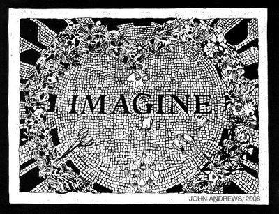 "Imagine linocut  Image size: 11.5"" x 8.5""  Paper size: 14.25"" x 11.5""  Edition: 12  Linocut; White ink on black paper"