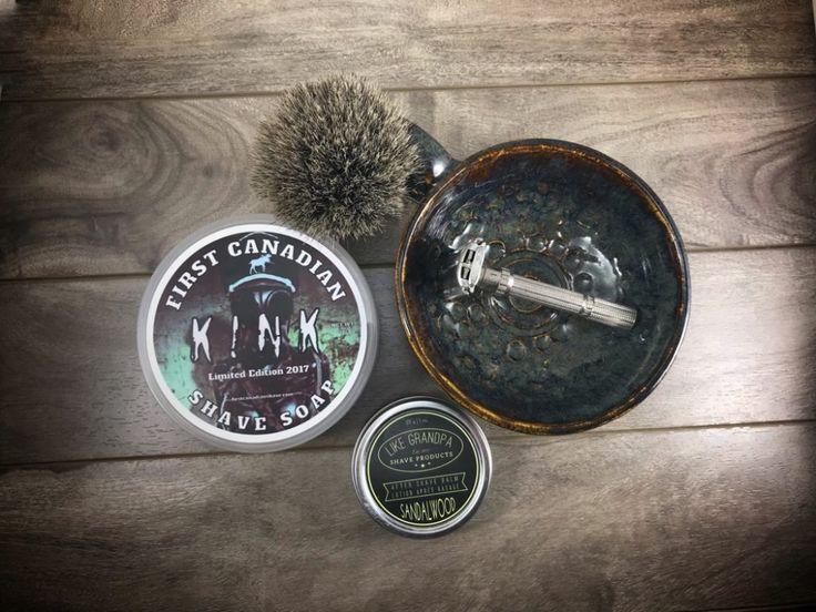 #SOTD #wetshaving #shavelikegrandpa Razor: Gillette Slim Adjustable Blade: Astra Green Brush: The Art of Shaving Pure Badger Soap: First Canadian Shave Kink Aftershave: Like Grandpa Sandalwood Balm Other: Thirsty Badger lather bowl