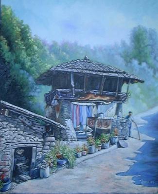 """""""Horreo en Cangas del Narcea, Asturias""""  Cuadro pintado al Óleo por Chari González"""