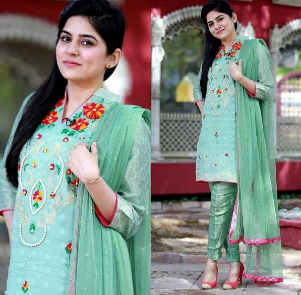 Sanam Baloch In A Beautiful Green Dress, Specially For An Eid Festival