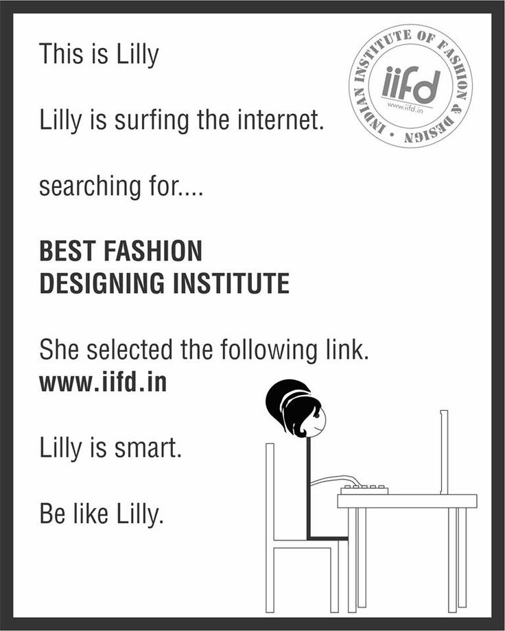 Lilly is smart, Be like Lilly  Join Best Fashion Design institute  Fill online application form @ www.iifd.in  #iifd #chandigarh #best #fashion #designing #institute #chandigarh #mohali #punjab #design #admission
