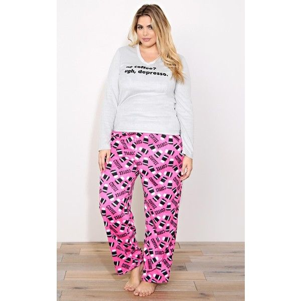 Plus No Coffee Plush Pajama Set ($9) ❤ liked on Polyvore featuring plus size women's fashion, plus size clothing, plus size intimates, plus size sleepwear, plus size pajamas, grey combo, plus size, plus size pjs, long sleeve pajamas and plus size two piece