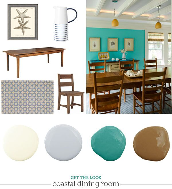 Coastal Beach Style Dining Room Decorating