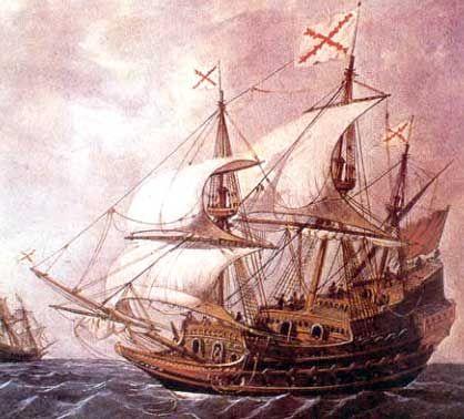 Galeón. Pintura de Rafael Monleón. Museo Naval. Madrid.