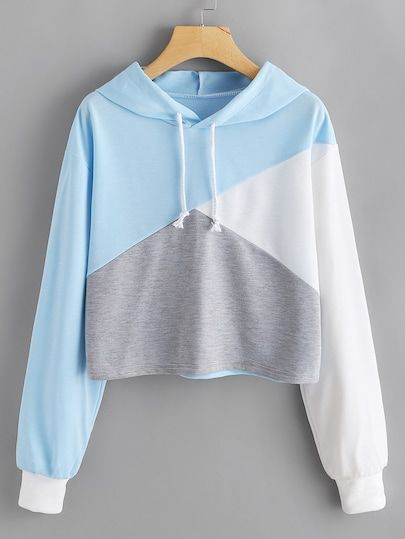 And Sew Panel Crop Hoodie Cut And Sew Panel Crop HoodieFor Women-romweCut And Sew Panel Crop HoodieFor Women-romwe Girls Fashion Clothes, Teen Fashion Outfits, Mode Outfits, Outfits For Teens, Crop Top Outfits, Cute Casual Outfits, Pretty Outfits, Stylish Outfits, Sweat Style