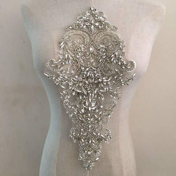Bodice Rhinestone Applique Crystal Applique Crystal Tulle Applique For Wedding Dress Bridal Supplies Bodice Applique Bridal Applique Rhinestone Appliques