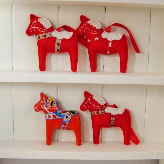 Scandinavische Voelde Dala Paard Kerst Decoratie Zweedse Etsy Scandinavisch Etsy Decoratie