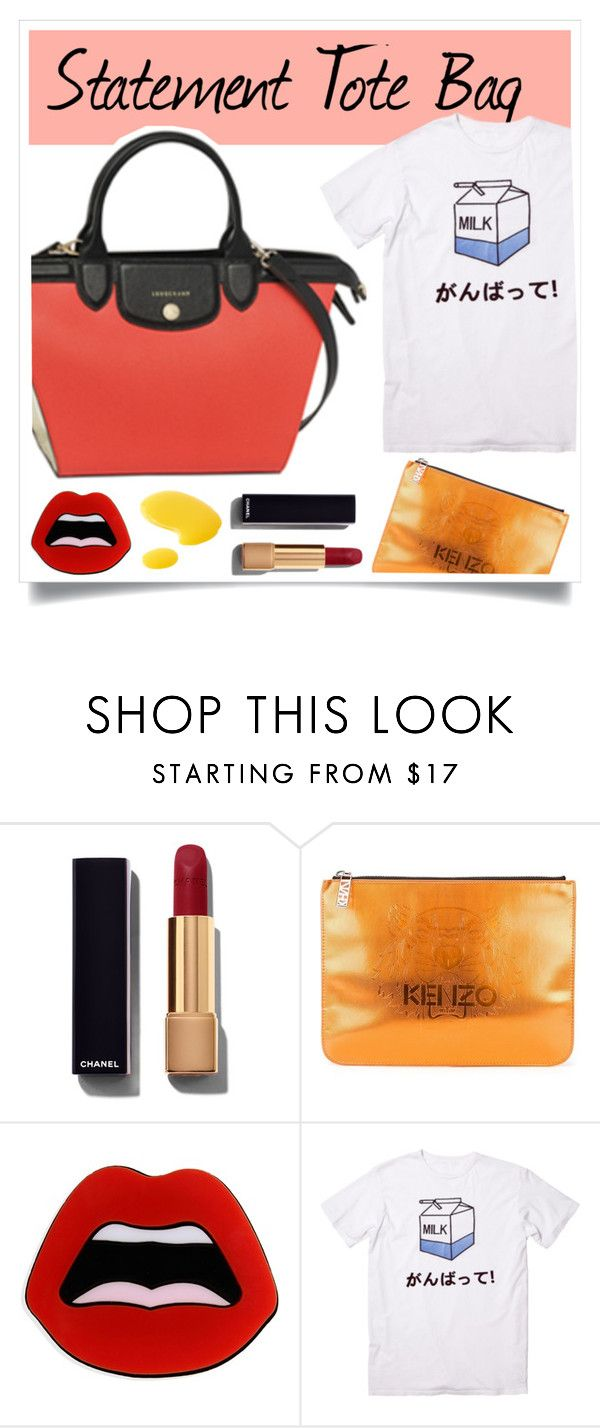 """""""Statement tote bag"""" by kelly-m-o ❤ liked on Polyvore featuring Chanel, Longchamp, Kenzo, Yazbukey, Jack Wills, women's clothing, women's fashion, women, female and woman"""