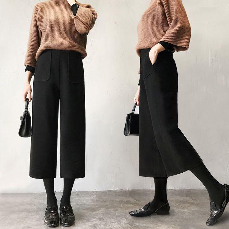 Women's Wool Wide Leg Casual Culottes Crop Pants …