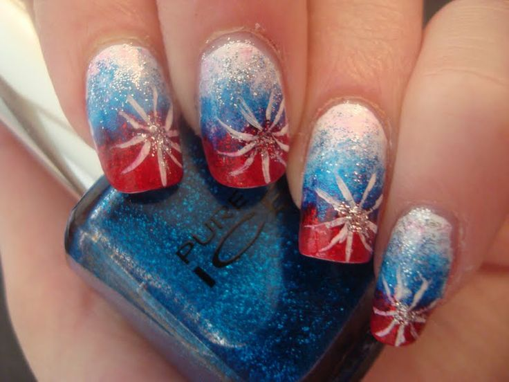 4th Of July Firework Glitter | 4th of july nails i faded red to blue to white with a lot of glitter ...