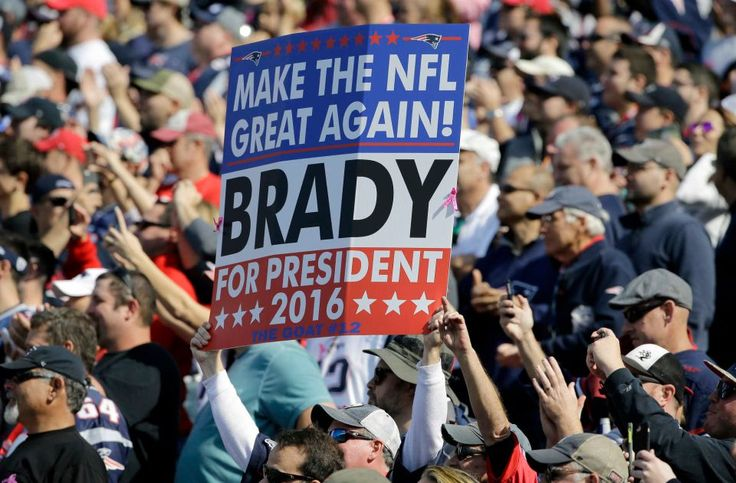 Bengals vs. Patriots:     October 16, 2016  -  35-17, Patriots  -     A fan holds a sign referring to New England Patriots quarterback Tom Brady before an NFL football game between the Patriots and the Cincinnati Bengals, Sunday, Oct. 16, 2016, in Foxborough, Mass.
