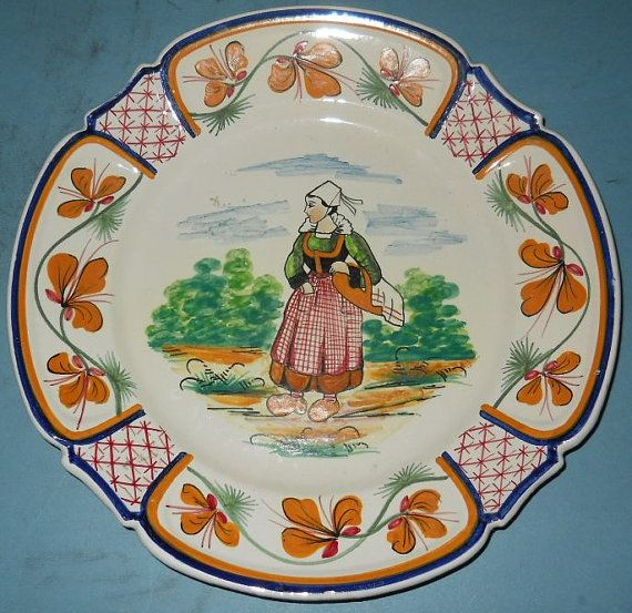 """Antique HB Quimper France Hand Painted Country Woman 9 1/2"""" Art Pottery Plate - 1893 - 1910"""