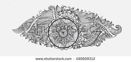 Hand-drawn Abstract floral with ethnic ornaments doodle pattern. Vector illustration Henna Mandala Zentangle stylized for Cover book or card, tattoo more. Design for spiritual relaxation for adults.