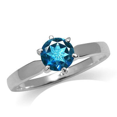 Genuine London Blue Topaz 925 Sterling Silver Solitaire Ring SZ 8