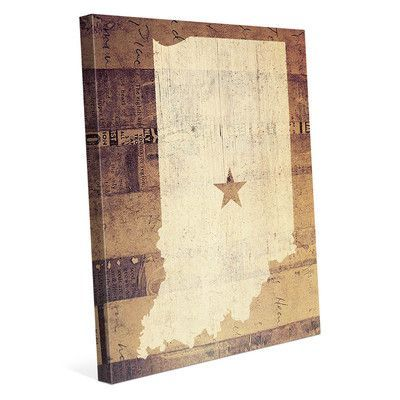 Click Wall Art 'Indiana Rustic' Graphic Art on Wrapped Canvas Size: