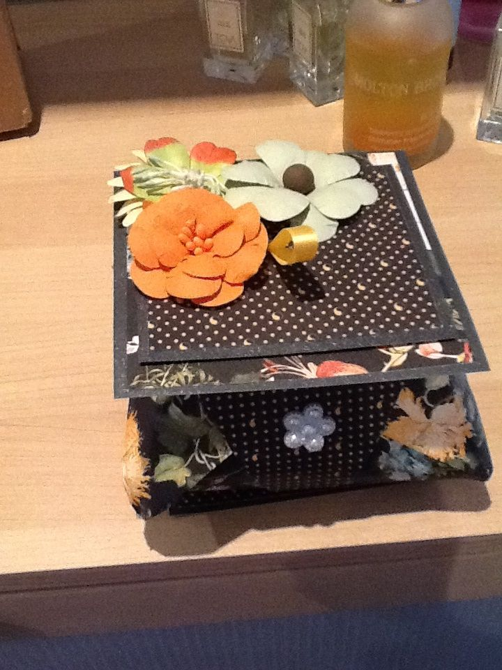 I made this box with card from Graphic 45. The flowers were from C & C