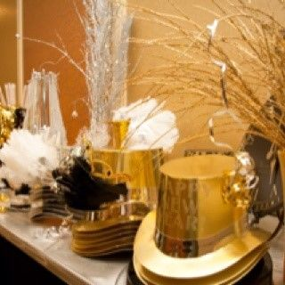 party supplies table  NYE wedding ideas  New years eve