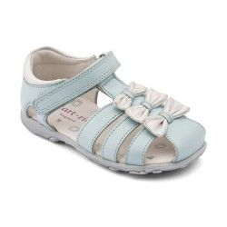 Light Blue Leather Girls Shoes