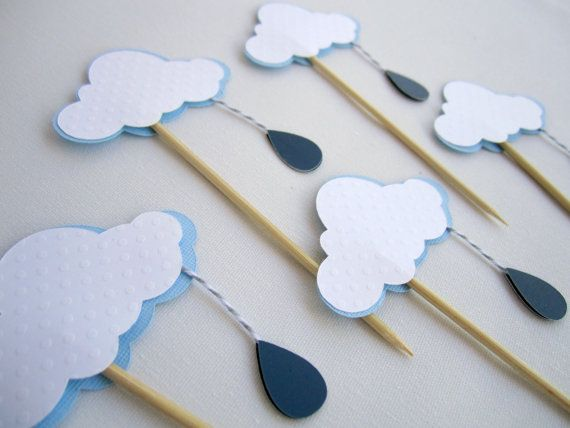 Cloud with Rain Drop Cupcake Toppers - Rain Cloud - Baby Shower, Birthday Party