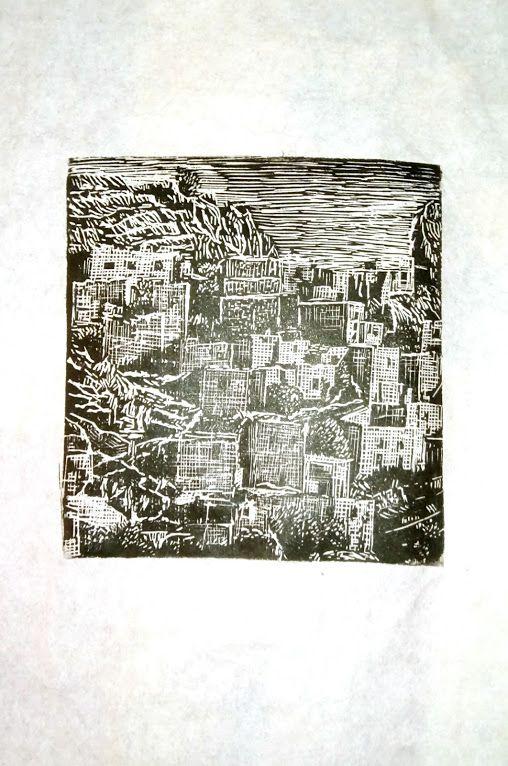 "''Anavatos"", endgrain woodcut, 9,5 cm X 9,5 cm"