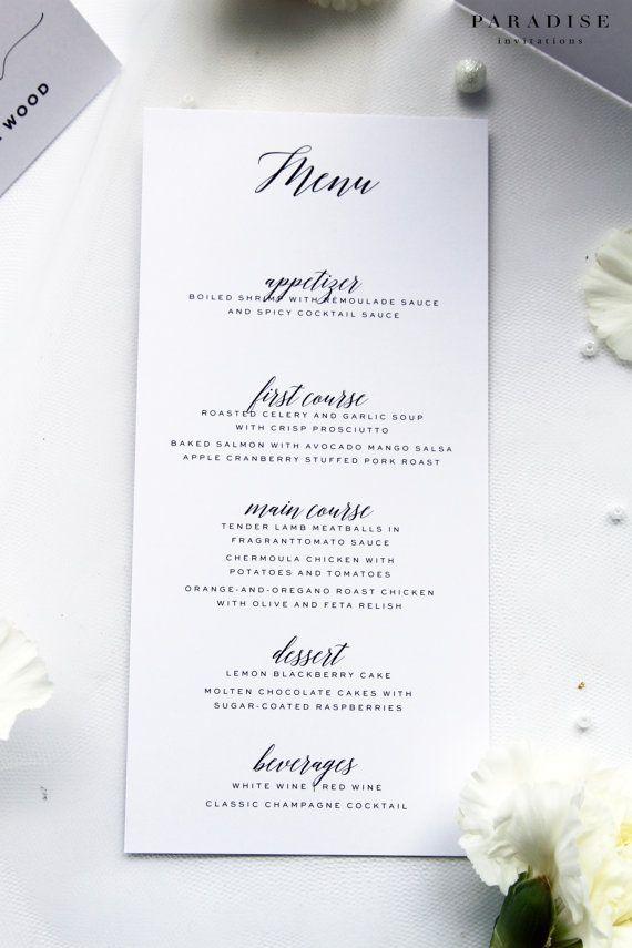 Modern Calligraphy Menus, Printable Menu or Printed Menus