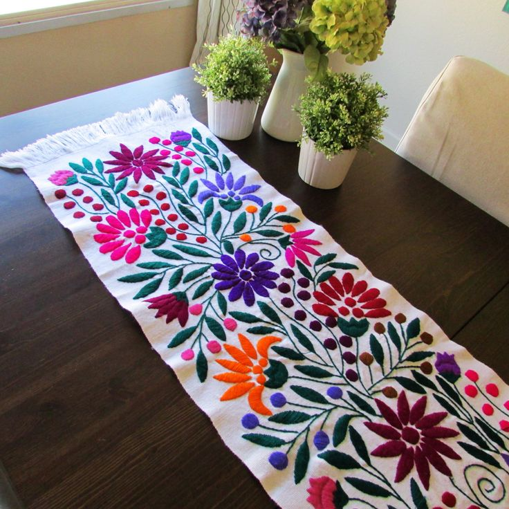 Table Runner White color Mexican Textile Hand Made, Hand Woven, Hand Embroidered, white Background and coloful flower design from Chiapas by ArteDeMiTierraMX on Etsy
