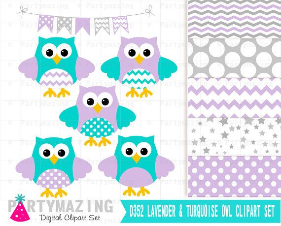 Owl Clip Art  Lavender and Turquoise Clip Art Set and Digital Paper Set- Cute Owl Clipart set Polka dot and Chevron D352 by Partymazing