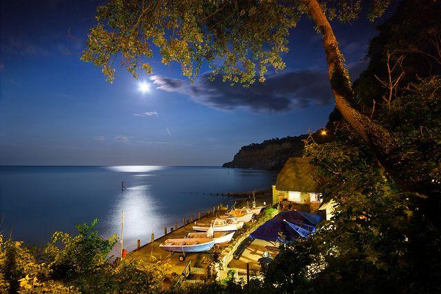 Night Photography #nightphotography Shanklin Chine Beach by Moonlight